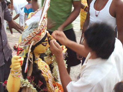 Goddess idol being prepared for immersion