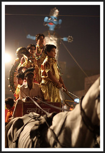 Lord Rama's effigy in the background, skinny horse and child actor-warriors in the foreground